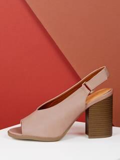 Split Vamp Cut Out Peep Toe Chunky Heel Sandals