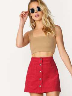 Button Front Double Pockets Corduroy Mini Skirt