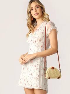 Ruffle Trim Cap Sleeve Floral Wrap Mini Dress