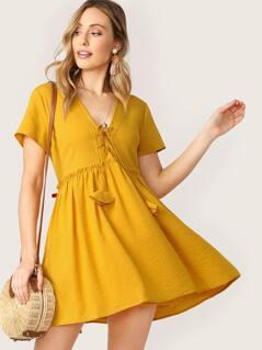 Lace Front Raw Ruffle Trim Striped Babydoll Dress