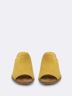 d66e9e5460 Open Toe Wide Strap Slide On Block Heel Mules | MakeMeChic.COM