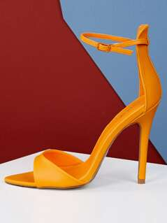 Neon Pointed Sole Open Toe High Heels
