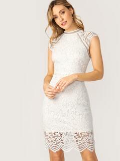 Scalloped Edge High Neck Crochet Lace Dress