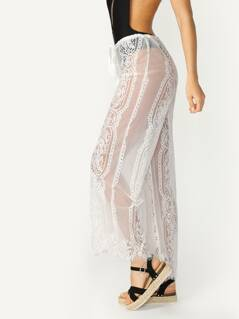 Drawstring Waist Sheer Lace Scalloped Hem Pants