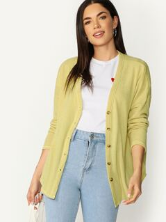 Button Front V-Neck Lightweight Cardigan Sweater