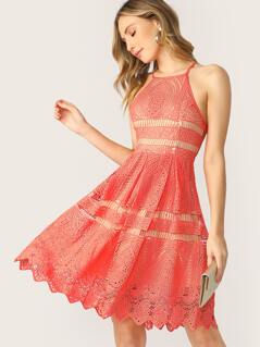 Fit And Flare Lace Halter Neck Back Keyhole Dress