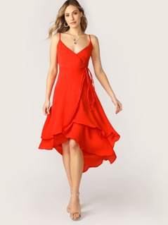 V-Neck Double Layered Sleeveless Midi Wrap Dress
