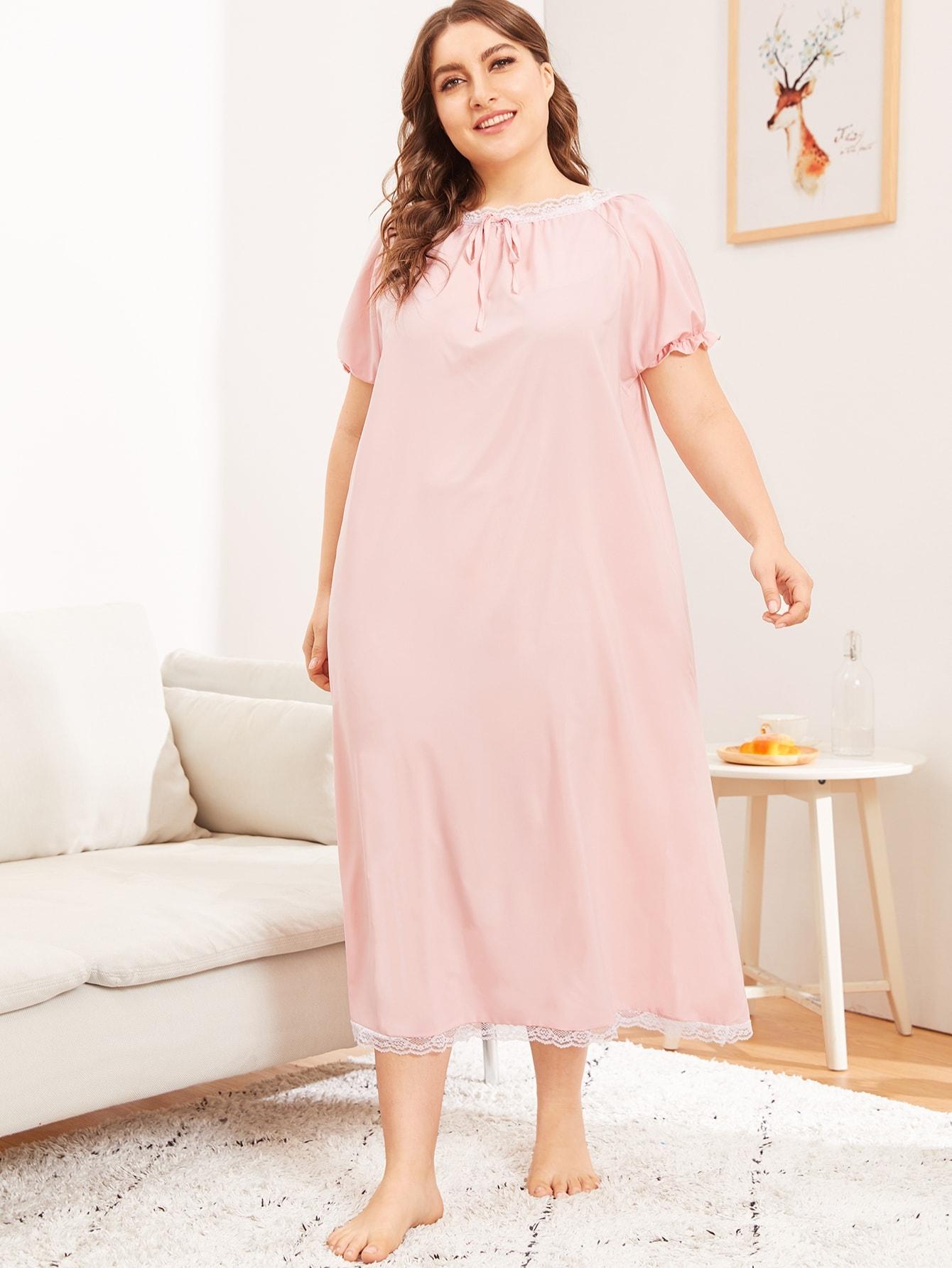 Купить Размера плюс вечернее платье с бантом и контрастными кружевами, Franziska, SheIn