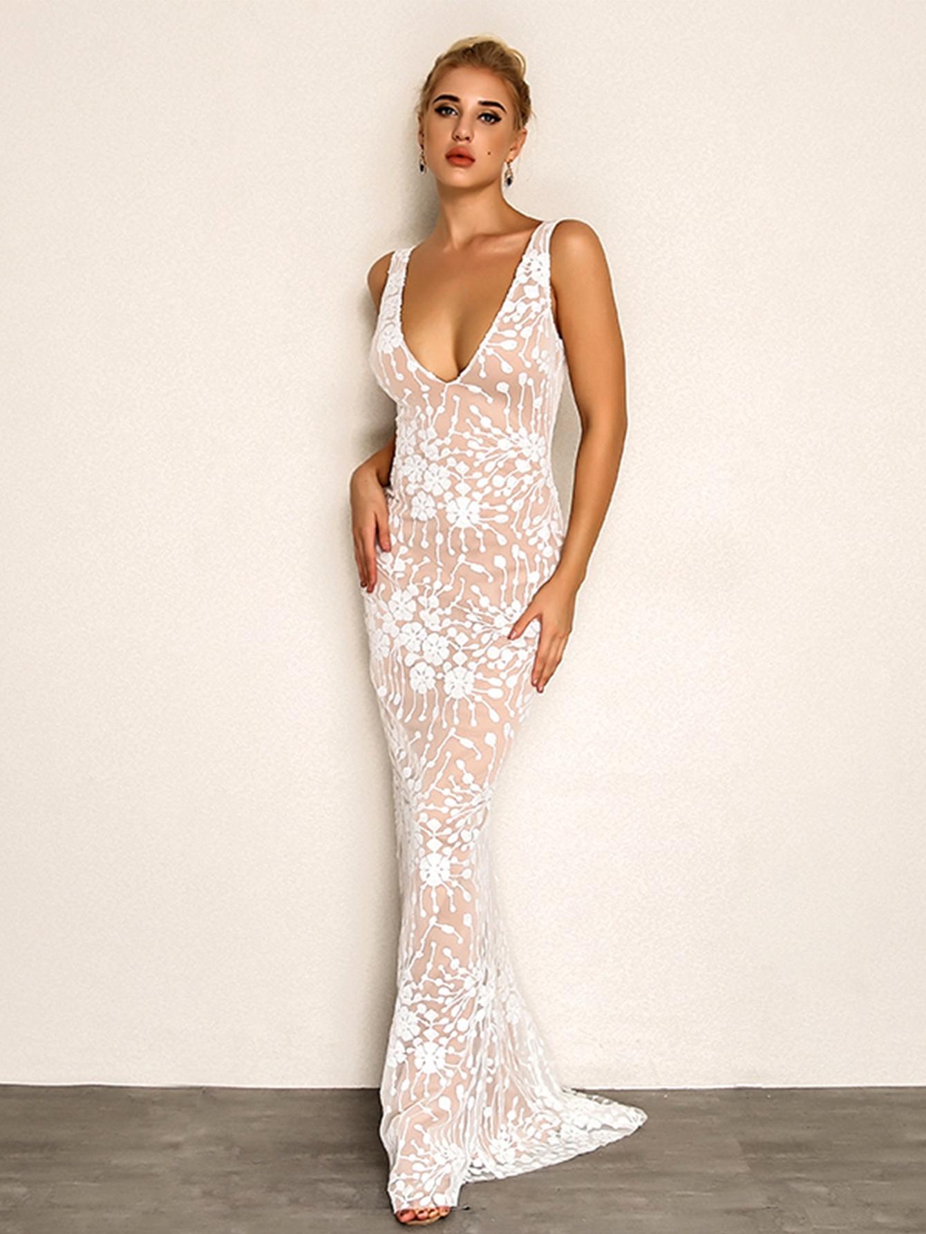 Купить Joyfunear Сетчатое платье с глубоким вырезом, null, SheIn