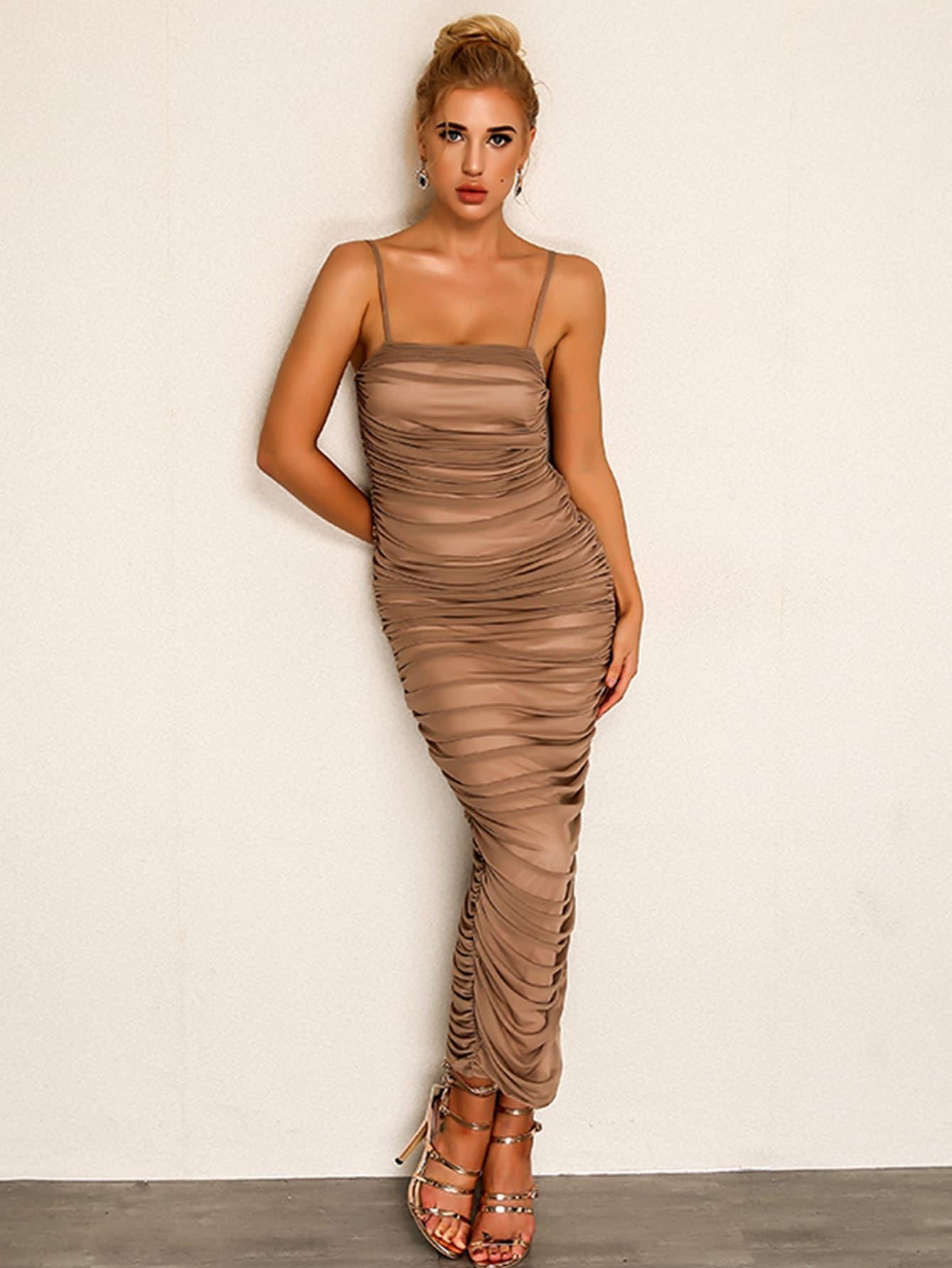 Купить Joyfunear Платье на бретелях с вырезом сбоку, null, SheIn