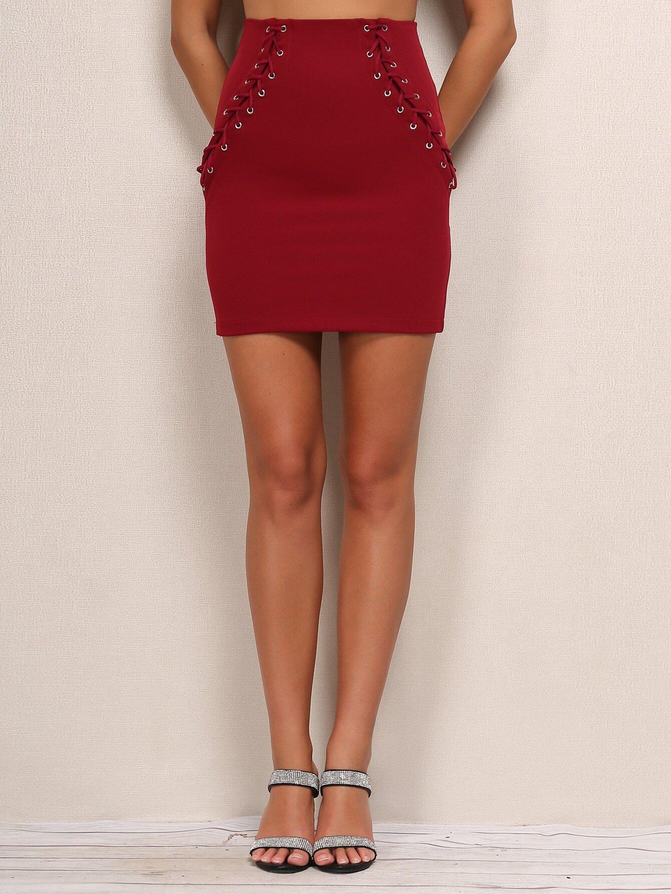 Купить Joyfunear Облегающая юбка с шнуровкой, null, SheIn