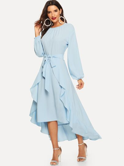 Lantern Sleeve Self Belted Ruffle Dress