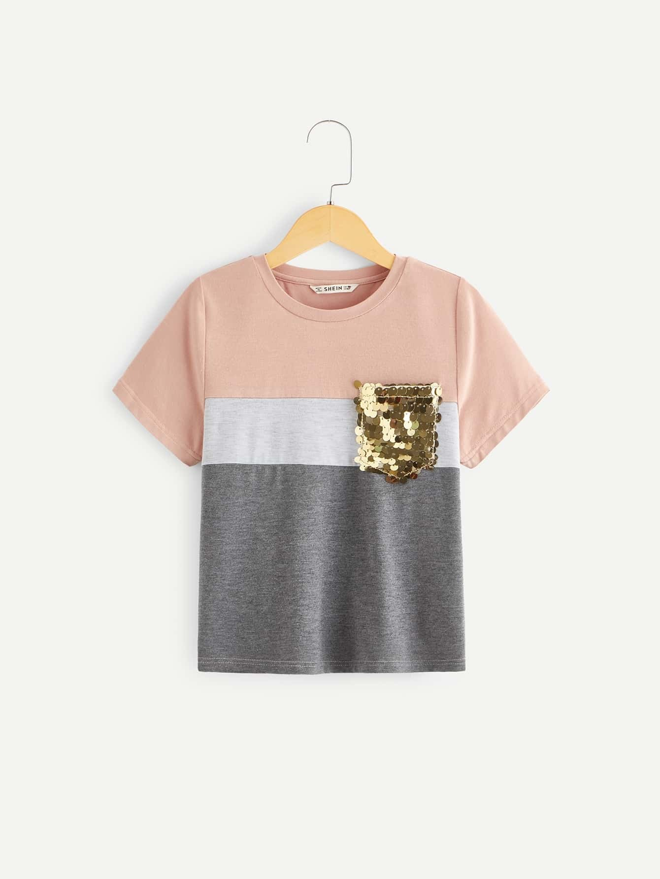 95d8c72238a7 Girls Sequin Patched Colorblock Tee - shein.com - imall.com