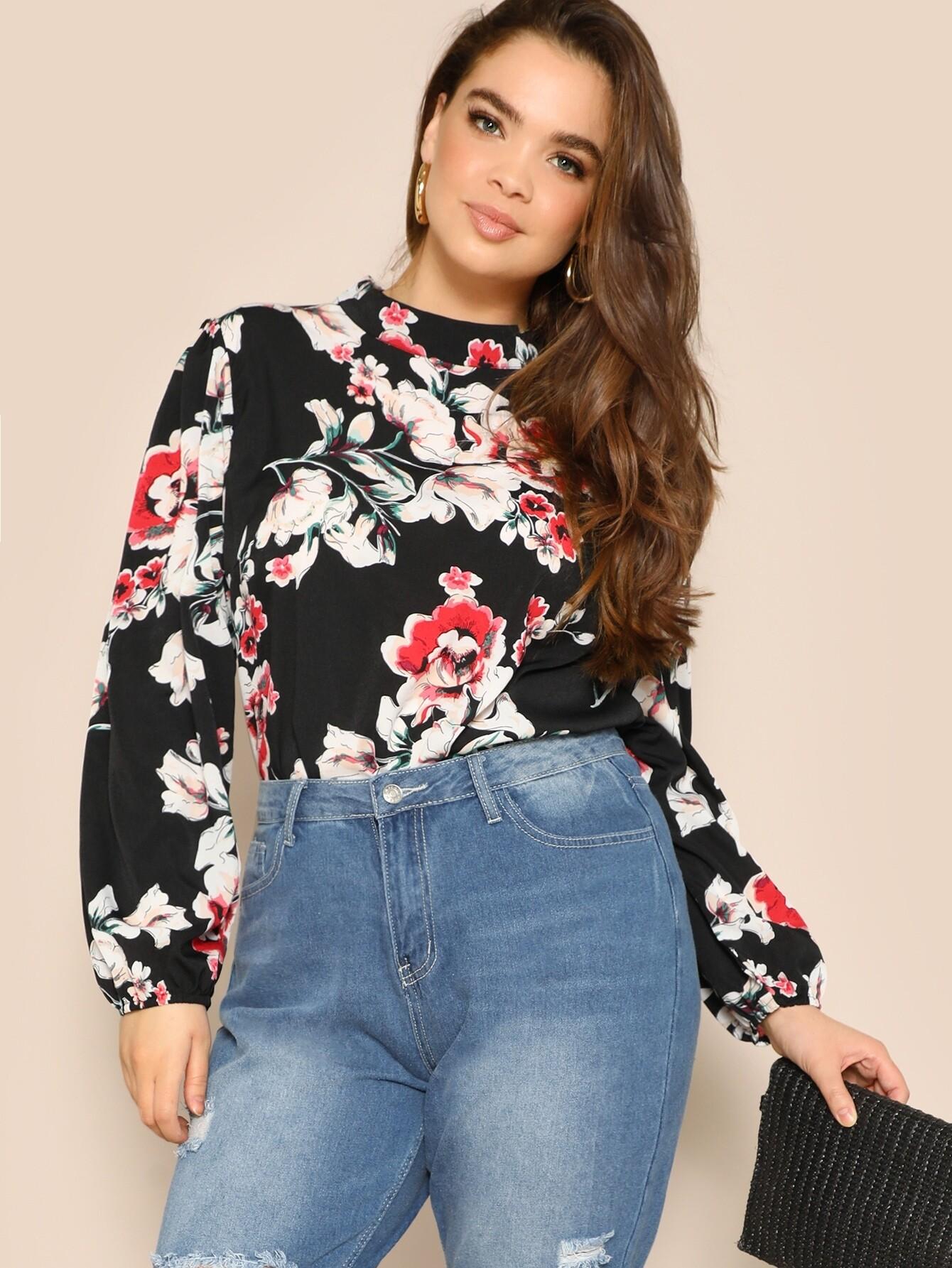 Купить Размера плюс блуза со стоячим воротником оригинальным рукавом и цветочным принтом, Faith Bowman, SheIn