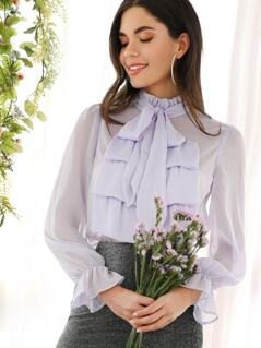 Jabot Collar Semi Sheer Blouse