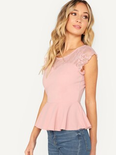 Lace Yoke Sweetheart Neck Peplum Top