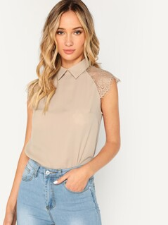 Eyelash Lace Cap Sleeve Collared Blouse