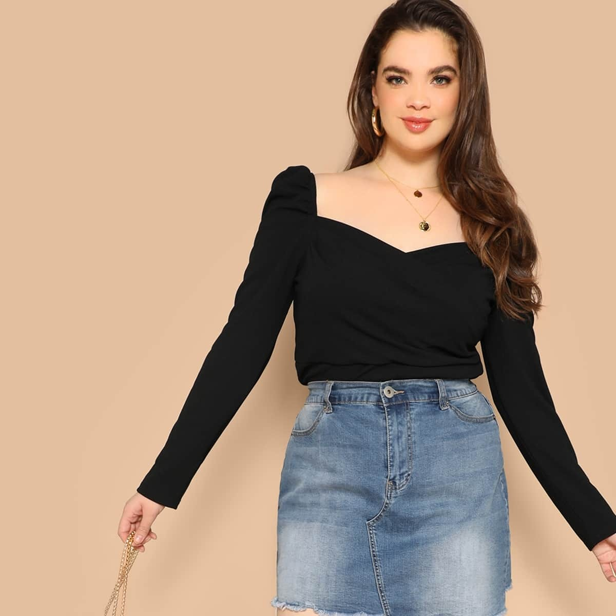 Zwart Basics Vlak Grote maten blouses