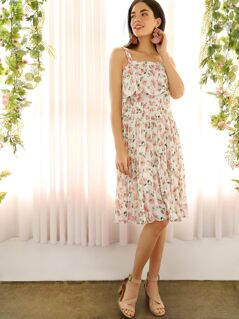 Ditsy Floral Print Pleated Overlay Cami Dress