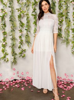 Mock-Neck Lace Bodice Split Side Pleated Dress
