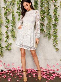 Zip Back Ruffle Trim Belted Lace Dress