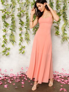 Lace Up Backless Fit & Flare Slip Dress