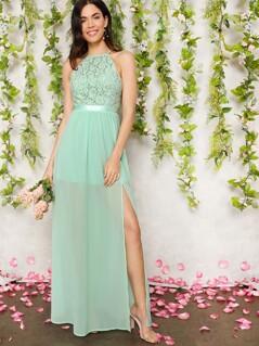 Lace Bodice Open Back Split Halterneck Dress