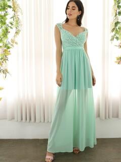 Open Back Surplice Lace Top Prom Dress