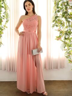 One Shoulder Lace Top Split Prom Dress