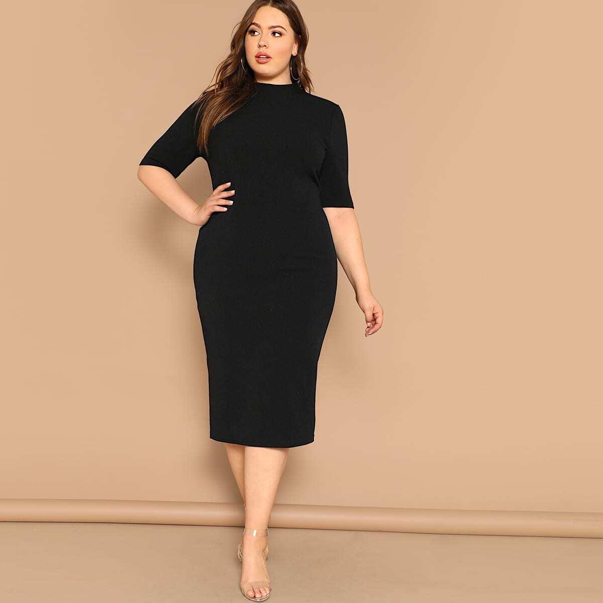 Zwart Basics Vlak Grote maten jurken