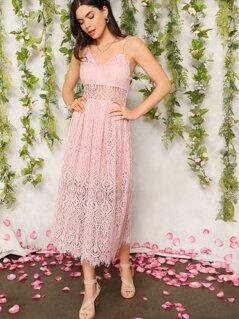 Eyelash Lace Overlay Slip Dress