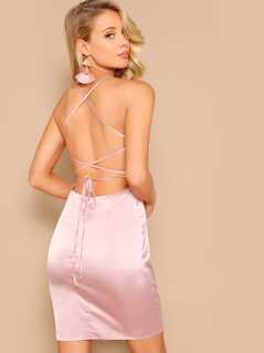 Lace Up Backless Satin Bodycon Dress