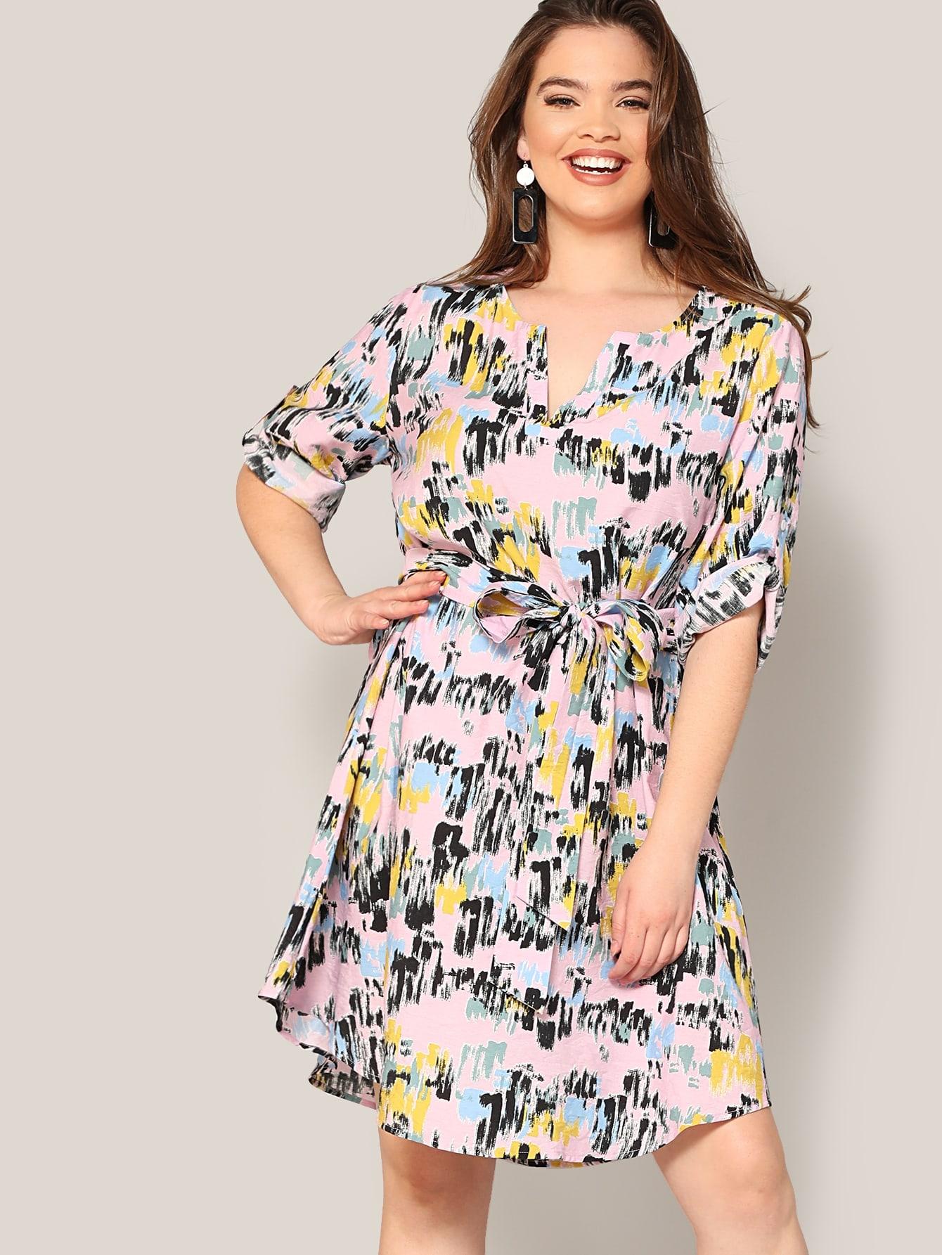Размер плюс разноцветное платье с поясом