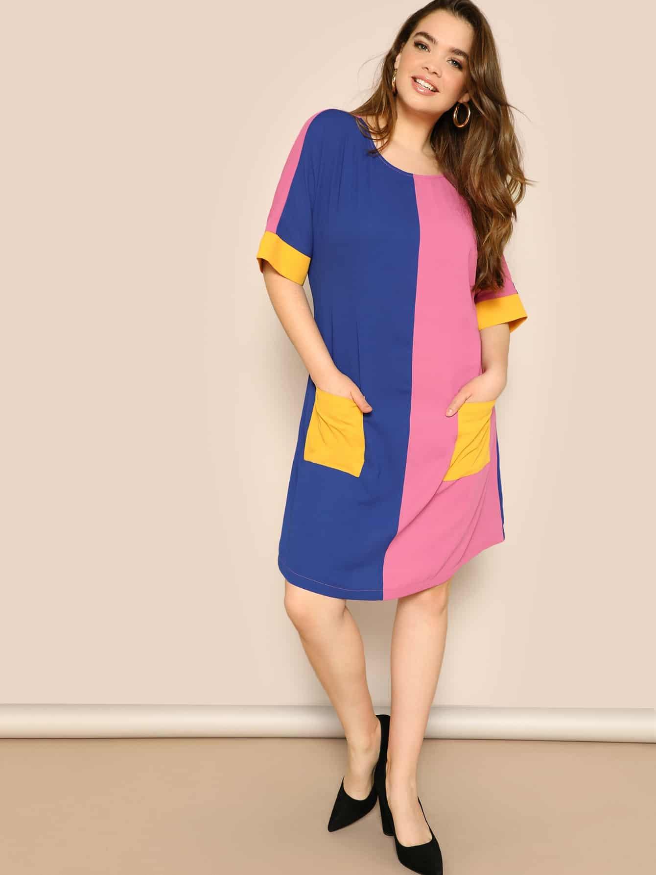 Размера плюс контрастное платье с заплатой кармана