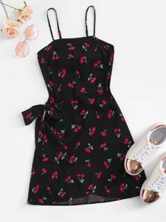 Knot Open Back Cherry Print Cami Dress