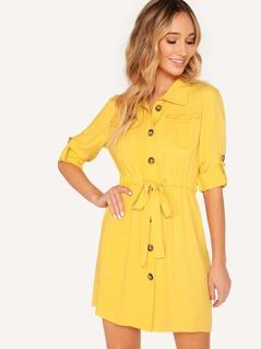 Pocket Front Roll-up Sleeve Drawstring Waist Shirt Dress