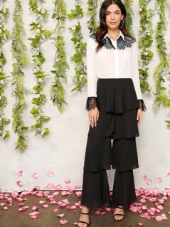 Zip Back Tiered Layered Ruffle Pants