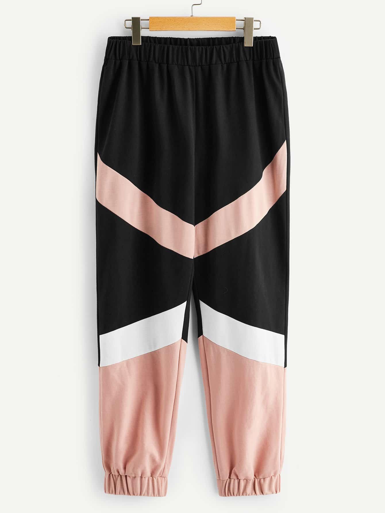 Купить Размер плюс контрастные спортивные брюки с эластичной талией, null, SheIn