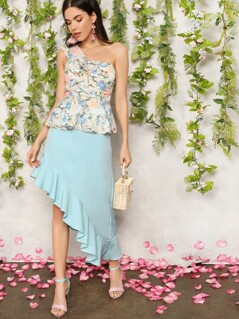 Asymmetrical Ruffle Trim Solid Skirt