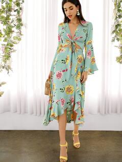 Asymmetrical Ruffle Wrap Hem Floral Skirt