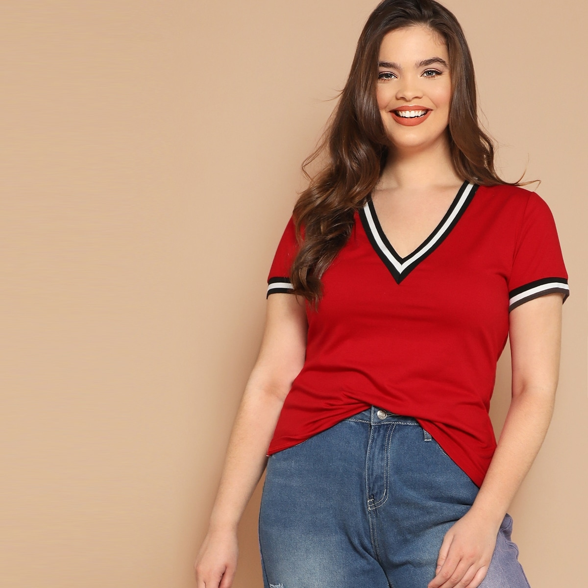 Rood Casual Gestreept Grote maten T-shirts
