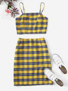 Tartan Crop Cami & Skirt Set