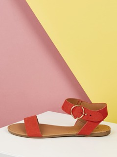 Ankle Strap Solid Band Flat Sandals