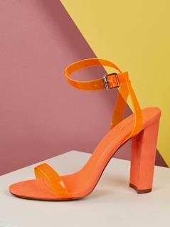 Vinyl Band Ankle Strap Block Heel Sandals