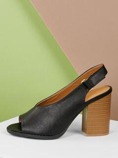 V-Cut Vamp Open Toe Stacked Heel Sandals
