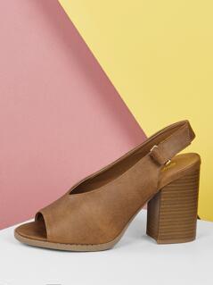 Open Vamp Peep Toe Block Heel Slingback Sandals