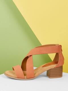 Criss Cross Open Toe Back Zip Chunky Heel Sandals