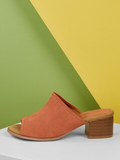 Open Toe Slide On Thick Band Chunky Heel Mules