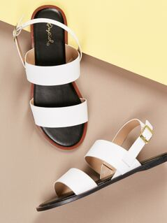 Two Thick Band Slingback Flat Sandals