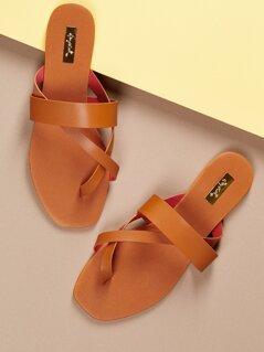 Multi Strap Toe Loop Flat Slide Sandals